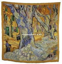 "Large 100% Pure Silk Art Scarf Wrap Handrolled Van Gogh ""Road Menders in a Lane"""