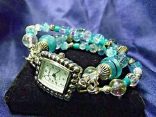 Bellajulz Woman's Watch with 3 Beaded Bands  **Turquoise Glass**  ME041