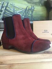 Kickers Women's Gallagher Slip-On Ankle Boots Red Wine Size EU 38/7.5 Distressed
