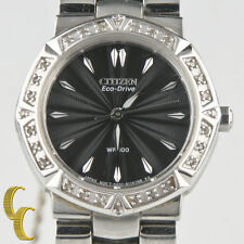 """Citizen Lady's """"Eco-Drive"""" Stainless Steel Wrist Watch with Safety Clasp"""