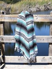 Mint Mexican Blanket Serape Throw, Mexican Yoga Blanket, Boho Falsa Blanket XL