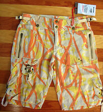 NEW DA NANG LADIES CARGO SHORTS 100% SILK TAN ORANGE YELLOW CAMO SMALL S NWT