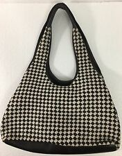 JIL SANDER DK BROWN AND WHITE WOVEN CHECKERED LAMBSKIN TOTE HANDBAG