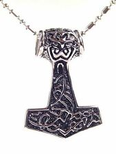 "BUTW- Stainless Steel Thor's Hammer Necklace Pendant 24"" chain  0329K"
