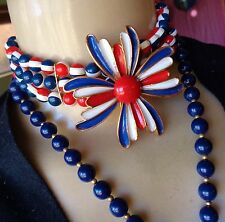 Vintage 3 pc Lot Huge Red White Blue Brooch Wide Beaded Choker & Long Strand 70s