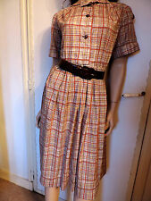 PUR VINTAGE 70  ROBE EN COTON A CARREAUX  MADRAS  T 40/42 / COTTON DRESS