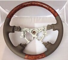 TOYOTA Land Cruiser 03-07 Prado FJ 03-09 Wood Taupe Tan Leather Steering Wheel