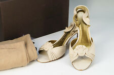 Auth BOTTEGA VENETA Sandals Size:6.5 Leather Beige Free Ship 617k32