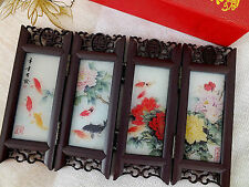 JAPANESE COLOR KOI CARP PEONY MINI GLASS SCREEN TABLE WEDDING BIRTHDAY PARTY A3