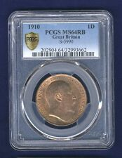 GREAT BRITAIN EDWARD VII  1910 1 PENNY CHOICE UNCIRCULATED CERTIFIED PCGS MS64RB