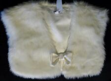 DKNY NWT $45 IVORY FAUX FUR BOW CLOSURE PARTY DRESSY VEST SZ L GIRL'S