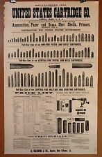 Vintage United States Cartridge Co. Pistol Rifle Ammunition Ammo Price Poster Ad