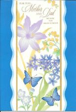 Blue Happy Anniversary Mother and Dad Butterflies Flowers Hallmark Greeting Card