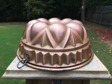 "Antique German 10.75"" Bundt Cake Jelly Pudding Copper Mold Mould Tin  Nurnberg"