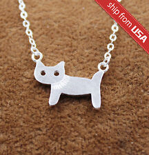 925 Sterling Silver Cat Kitty Designer Necklace Pendant Novelty gift Cute Kawaii