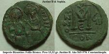 Justino II. Follis Bronce. Año 568. Peso 13,32 gr. 29-30 mm. Ceca CONSTANTINOPLA