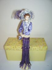 Popular Creations Purple Victorian Porcelain Hands and Face Tassel Doll Mint