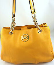 New Michael Kors Fulton Medium Chain Tote Bag Purse Handbag Vintage Yellow