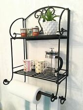 Shabby Chic Double Shelf Unit Rack 2 Towel Rail Black French Vintage Bathroom