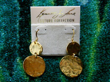Kenneth Jay Lane Satin Gold Plated Hammered Coin Drop Fishhook Pierced Earrings