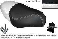 BLACK & WHITE CUSTOM FITS PGO RODOSHOW 50 DUAL LEATHER SEAT COVER ONLY