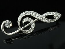 2pc Bling Austrian crystal silver plated Brooch pin Treble music note symbol D34