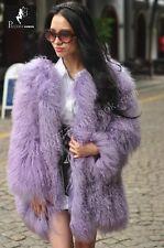 100%Real Sheep Fur Lamb Fur Coat Mongolian Fur Lamb Wool Fur clothing Beautiful