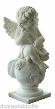 Statua Angelo Scultura in Marmo Bianco White Mable Sculpture Old Classic Design