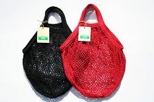 2 x  String/net Shopping Bag made from recycled unbleached cotton,Short Handles