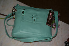 NWT STONE MOUNTAIN SUMMIT OCEAN BREEZE SOFT LEATHER CROSS BODY BAG $109.00