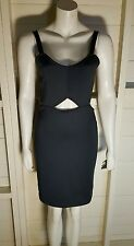 NEW LADIES H&M BLACK SCUBA SLIM FITTED BODYCON CUT OUT PANEL DRESS UK M XMAS