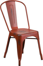 Industrial Style Antique Kelly Red Metal Restaurant Chair For Indoor-Outdoor