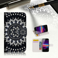 Black AZTEC TRIBAL Wallet TPU Case Cover For HUAWEI Y6 Elite 4G -- A005