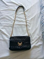 Sam Edelman Black Gold Quilted Faux Leather Shoulder Bag Crossbody