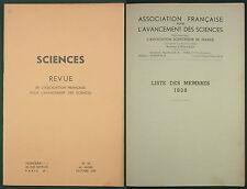 SCIENCES - REVUE POUR L'AVANCEMENT DES SCIENCES -1938 N°25 - LISTE DES MEMBRES