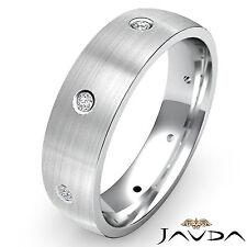 Round Shape Diamond Center Brushed Eternity Wedding Band Men Ring Platinum 0.1Ct