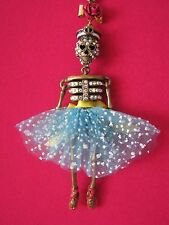 BETSEY JOHNSON NAUTICAL SAILOR GIRL SKELETON BALLERINA PENDANT LONG NECKLACE~NWT