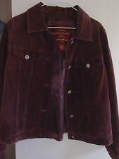Eddie Bauer Seattle Lined Suede Levi-Style Jacket in Rust Brown Good Cond.