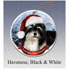 Havanese Black Howliday Porcelain China Dog Christmas Ornament
