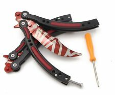 RioRand Butterfly Knife Handle Practice Sports Knife (Red+White)