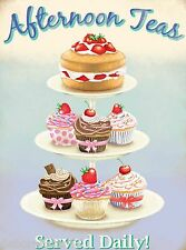 Large Vintage Shabby Chic Afternoon Tea and Cupcakes Metal Tin Sign Gift New