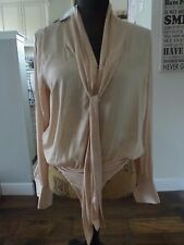 Nwt Forever 21 Contemporary Silky Neck Tie Body Suit Soft Pink Blouse