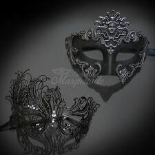 Couple Pair Lover Black Roman Men's Mask + Black Metal Venetian Masquerade Mask