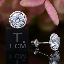2CT Round Cut Lab Diamond Halo Earrings 14K White Gold Solitaire Studs Screwback