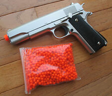 Metal 1911 Airsoft Spring Pistol + 1000 RD Precision BB Shoot Hard Up to 350 FPS