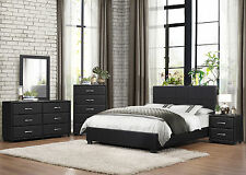 MIDLAND - Modern 5pcs Black Vinyl Cover Queen Low Platform Bedroom Set Furniture