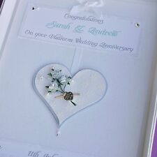Personalised Platinum/China 20th Wedding Anniversary Card, Swarovski crystals,
