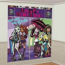 5 PC MONSTER HIGH GOTH PUNK PARTY WALL SCENE SETTER ROOM DECORATION BANNER