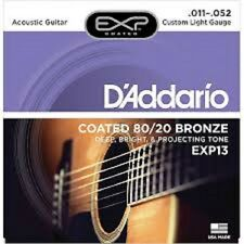 D'Addario EXP13 Custom Acoustic Guitar Strings Coated EJ13 80/20 Bronze 11-52