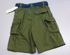 Cherokee Boys Size 5T Army Green Elastic Back Waist Belted Cargo Shorts New